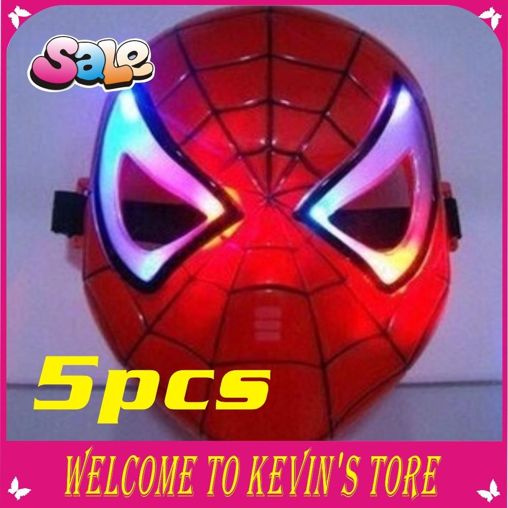 Ano novo LED de incandescência herói homem aranha máscara máscara do partido máscara máscara de Halloween 5pcs / frete grátis(China (Mainland))