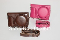Wholesale!!Noble camera case bag fit for Samsung WB800 wb800 PU leather case bag coffee and rose red