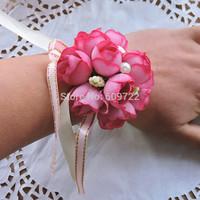 New Year Elegance Handmade Boutonniere 10pcs Pearl Wedding Decoration Bride Artificial Rose Corsage Wrist Flower Bracelet FL928