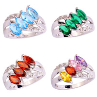 Wholesale Noble  Marquise Cut Blue Topaz & White Topaz 925  Silver Ring Size 6 7 8 9 10 11 Charming JEWELRY