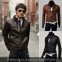 2013 men's spring and autumn clothing slim oblique zipper motorcycle leather clothing outerwear male short design leather jacket