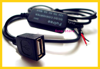 1M power cable 12v to 5v  USB port  dc dc step down converter buck module  5pcs/lot
