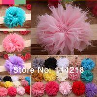 Trial order Vintage Chiffon Shabby Look Flowers Flat Back 100PCS/LOT By angel baby headwear