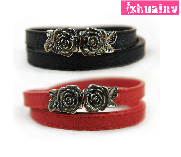 Accounting clothing strap flower women's rose buckle multicolor belt female pigskin leather thin belt women's belt(China (Mainland))