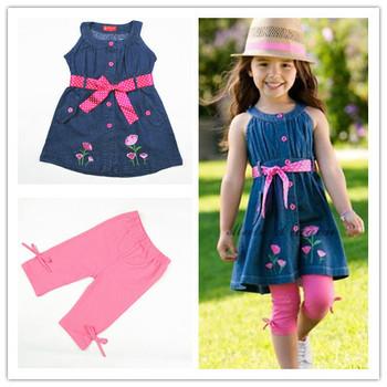 Girls 2013 summer clothing one-piece suspender denim dress 2pcs set embroiedered cotton dress with ribbon belt dark blue F8202