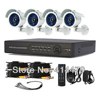 4 Channel Network DVR Day Night Weatherproof Security 480TVL 24pcs LED Camera Surveillance Video System 4ch Kit for DIY Home
