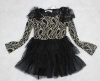 Retail 100% real picture long sleeve autumn kids girl princess fashion hollow out lace tutu dress black brown SIZE 120