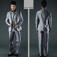 Top Sale Grey Suits For Men Brand Business Suits Formal Dress Suits Two Pieces S-XXXL