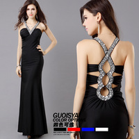 Free Delivery, Red, black, V collar, sexy, crystal ornaments, long section, 2013 new dress, arrival bandage Evening Dresses