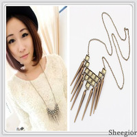 Min.order $10 mix order new Fashion Exaggerated retro punk rivet long pendant necklace Free shipping