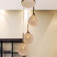 Free shipping Minimalist modern artistic golden crystal pendant chandelier dining room living room bedroom dining ball MD003