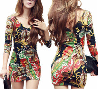 Free Shipping new Autumn and Winter  package hip ploral full cotton V-neck print sexy womans Dress E178