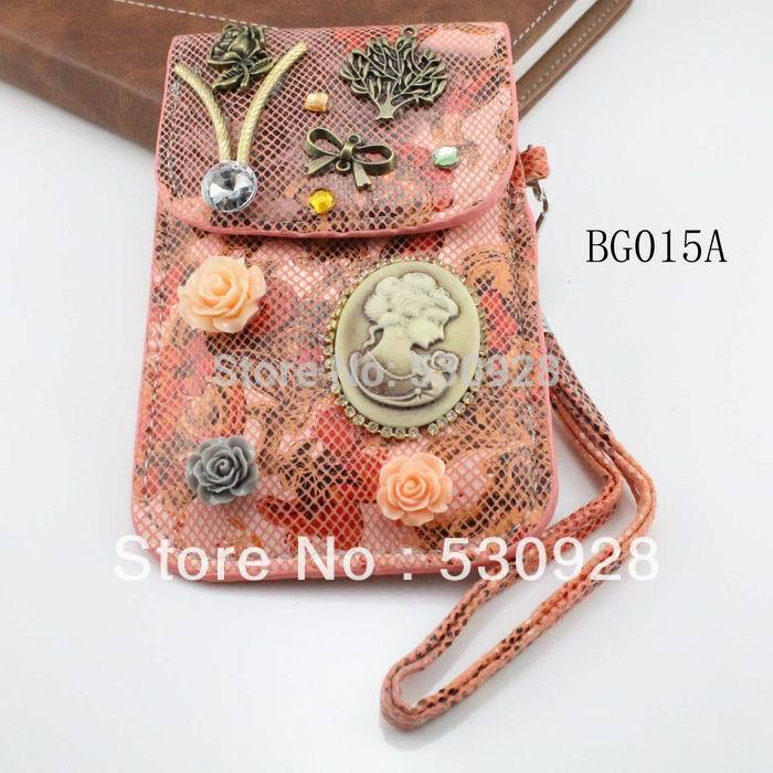 Min. order $10 trendy vintage red PU phone bag leather coin purse for all brands phone and for women Whole Sale Free shipping(China (Mainland))