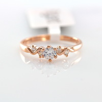 OL lady fan eight heart, eight arrows zircon ring   18 k rose gold plated fashion high-grade decorative jewelry