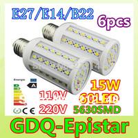 Free shipping 6x 15W 60LED 5630 SMD E27 E14 B22 Corn Bulb Light Maize Lamp LED Light Bulb Lamp LED Lighting Warm/Cool White