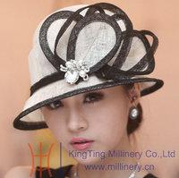 Elegant Wide Birm Leaf Cloche Bucket Kentucky Derby Dress Wedding Women's Summer Sunhat Sinamay Hat White Black Purple