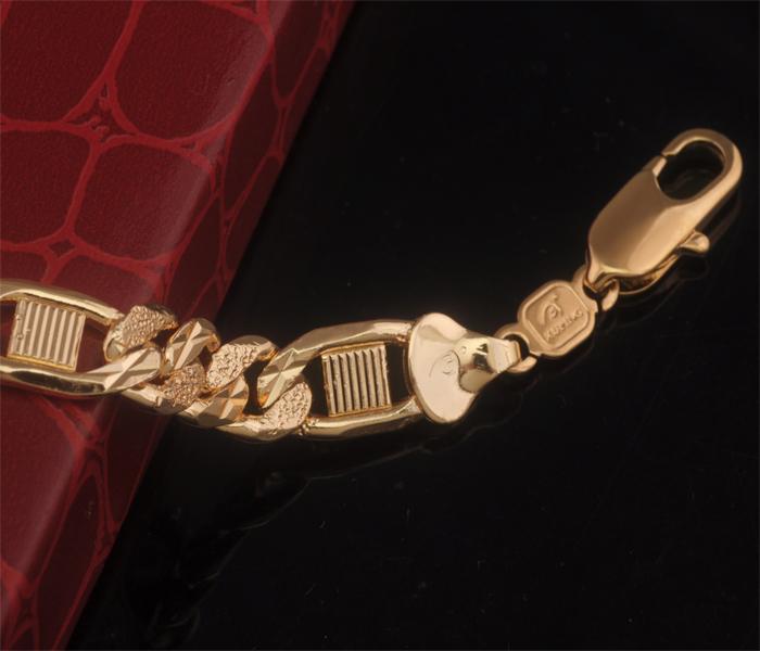 220 8mm 18k Gold Plated New Design Bracelet Men 2015 Embroidery Shaped Environmental copper