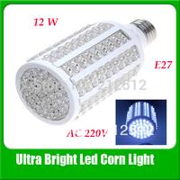 Wholesale E27 12w 216 leds Warm White/ White Led Corn Bulb Light Lamp AC220v Free Shipping