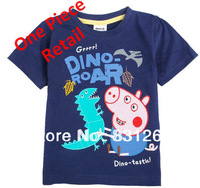 Free Shipping New 2014 Summer Peppa Pig George Pig with Dinosaurs Short Sleelve Clothes Kids Cartoon T-shirt 2-6Year 2 Color