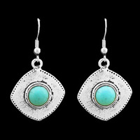 Fashion Jewelry Vintage Look Retro Silver Plated Exotic Rhombus Turquoise Earrings Stud E013