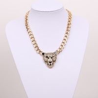 Free shipping Women Fashion big metal Chain Necklace Gold Chunky Chain Link Leopard Pendant Necklace Animal Pendants Necklace