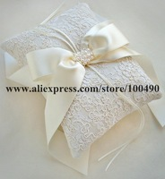Free Shipping in stock White ivory bridal Ring Pillow Bearer Cushion for Wedding