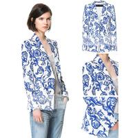 0New Chinese Style Coat Women! Autumn -summer Print Floral Blazer Women 2013!