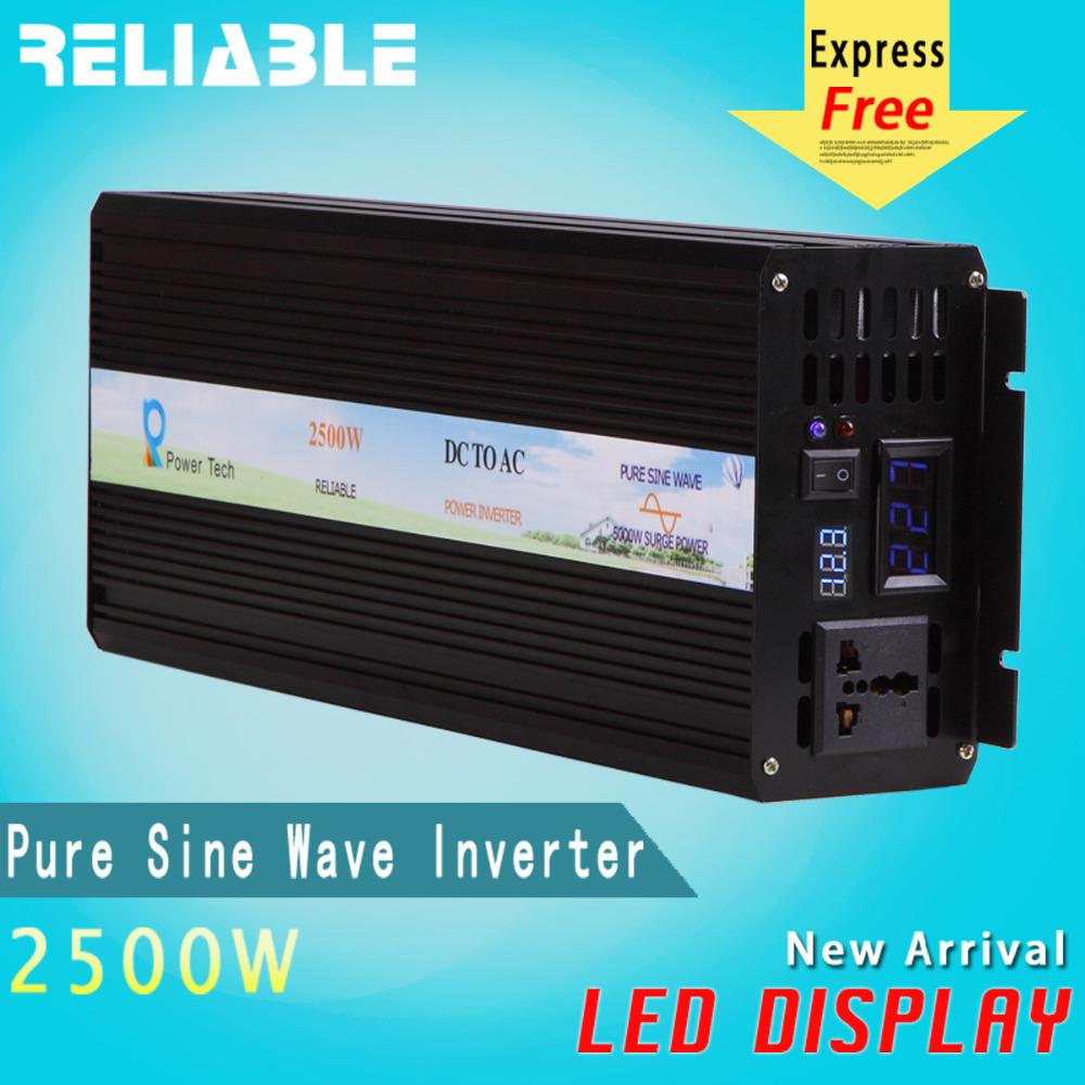 Reliable Double LED Display 5000W Peak Pure Sine Wave Inverter 12V/24V/48V Power Inverter 2500W 120V 230V Power Inverter(China (Mainland))
