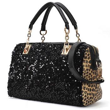Free shipping New Style ,women's Leopard messenger bag pu leather handbag,fashion sequins single-shoulder bag morer#222