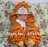 Cartoon animal style autumn winter coral fleece baby sleepwear children night robe gown loungewear sleepwear