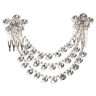 White tassel bride princess hair accessory rhinestone marriage accessories