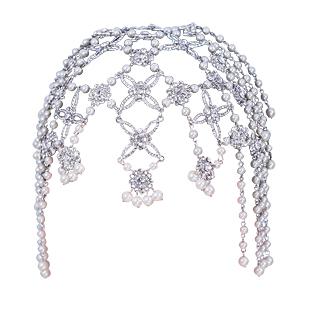 Colour bride rhinestone tassel hair accessory pearl marriage accessories wedding