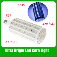 Ultra Bright Led Bulb 27w E27 220v Led lamp with 420 led Spot Light 360 Degree Corn Lamp Free Shipping Wholesale.