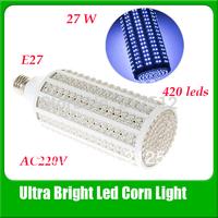 Ultra Bright Led Bulb 27w E27 220v Led lamp with 420 led Spot Light 360 Degree Corn Lamp Free Shipping Wholesale.