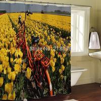 Bathroom curtain terylene cloth printed waterproof shower curtain 180*200cm Bicycle Canola flower
