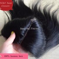 CLEAR MIDDLE PARTING free shipping silk straight brazilian hair silk base closure,natural scalp closure silk top hidden knots
