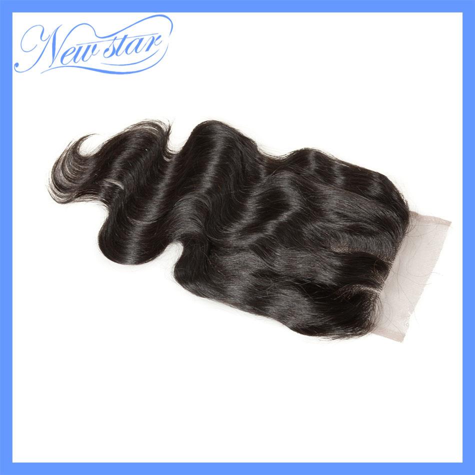 alibaba new star 3 part brazilian virgin hair body wave closure bleached knots with bady hair, Free shipping(China (Mainland))