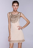 hot selling crystal dresses vestidos de fiesta, Europe beads gem noble short evening dress is fashionable apricot LM6012ES