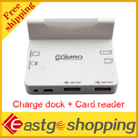 High Performance Multi function charge dock + card reader for iphone 4 free shipping