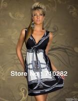 New  Fashion Mini Deep V-Neck Dress Sexy Clubwear Night Party Dress Free Shipping  X4195