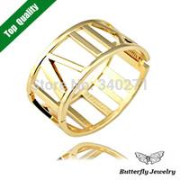 1 Pcs Free shipping,Vintage Alloy Hollow Roman Numbers Bangle Women Fashion Brand Roman Numeral Symbols Bracelet Ring Wide