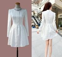 New 2014 Spring fashion ladies lace rhinestone collar long sleeve mini dress Women winter sexy Jacquard big size plus warm dress