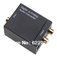 2014 Wholesale 3pcs x Audio Converter Digital Optical Coaxial Toslink to Analog RCA R/L Audio Converter Adapter US/EU/UK Plug