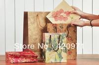 Popular flower color Kraft paper gift bag /Festival gift bags /Portable shopping bag 10pcs/lot 15cm*19cm*6cm Free Shipping