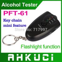 10pcs/lot mini alcohol tester/ alcohol detector with flashilight  Breathalyzer startlight as portable gife pft61