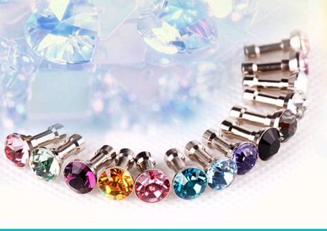 100pcs/lot,Luxury Phone Accessories Small Diamond Rhinestone 3.5mm Dust Plug Earphone Plug For Iphone&Ipad & Samsung,Wholesales(China (Mainland))