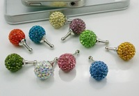 FREE SHIPPING, 30 PCS/LOT, Dust filter, crystal, shining, cell phone jack plug, small ball,  phone accessories
