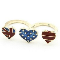 Min.order $10 mix order fashion personality rhree American Flag heart-shaped rings Free shipping
