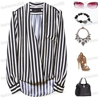 Lady Long Sleeve Chiffon No Buttons T-Shirt Black White Stripes Lapel Tops Blouse Free Shipping 1pcs/lot