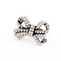 Shopping festival Min.order $10 mix order fashion lovely style full pearl bowknot rings Free shipping